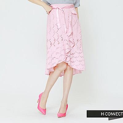 H:CONNECT 韓國品牌 女裝 -蕾絲綁帶不規則中長裙-粉