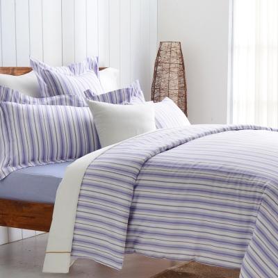 Cozy inn 生活-藍 300織精梳棉四件式被套床包組(加大)