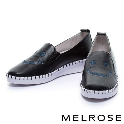 休閒鞋-MELROSE-微笑造型全真皮厚底休閒鞋-黑