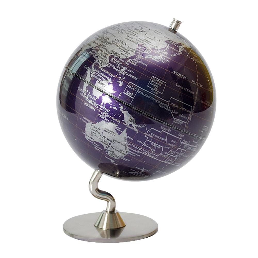 SkyGlobe 5吋深紫色金屬底座地球儀(英文版)