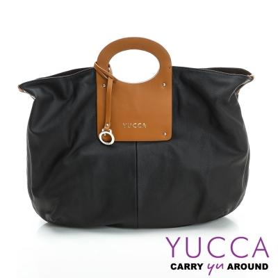 YUCCA - 日系風簡約牛皮包-黑色 D0100101C77