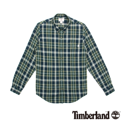 Timberland 男款墨綠格紋修身棉料長袖襯衫