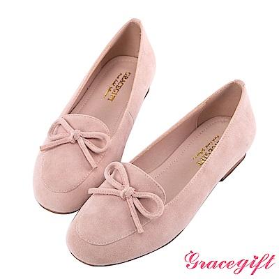 Grace gift-真麂皮蝴蝶結樂福平底鞋 粉