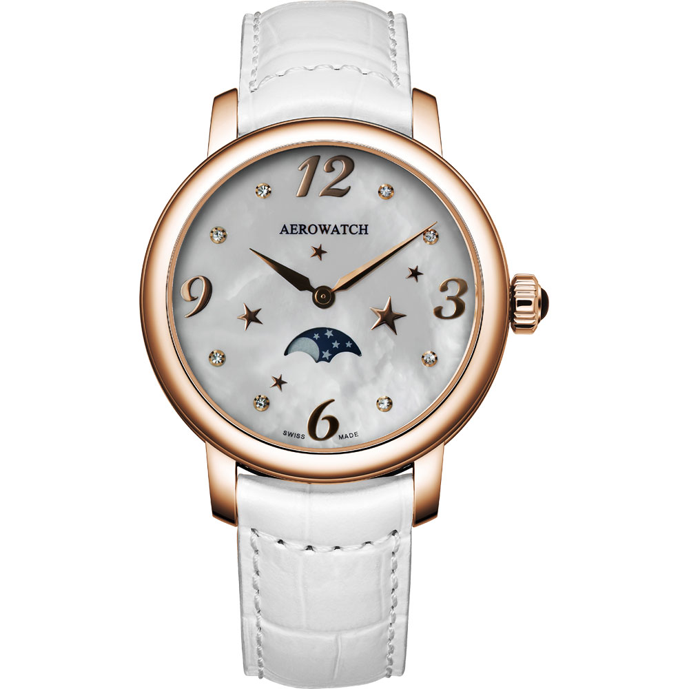 AEROWATCH 星空繁華月相時尚腕錶-珍珠貝x玫塊金框/36mm