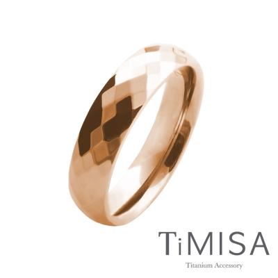 TiMISA《格緻真愛-寬版(玫瑰金)》純鈦戒指