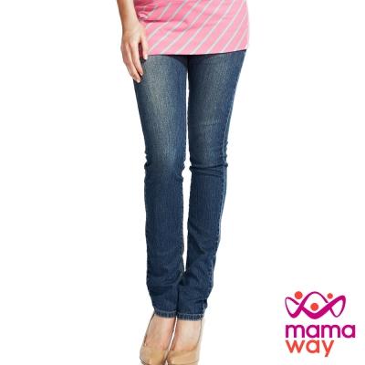 Mamaway 孕期窄管復古牛仔褲(中藍)