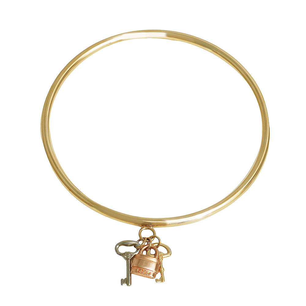 CHLOE PADDINGTON KEYS系列鎖X鑰匙吊飾黃銅手環 (金)