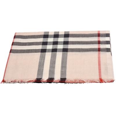 BURBERRY 經典格紋羊毛混絲圍巾/披肩(石米色)