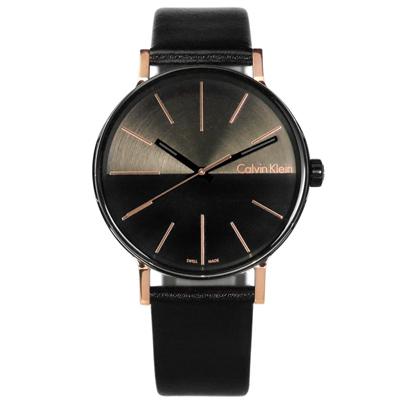 CK Boost 撞色拼接瑞士機芯防水皮革手錶-灰黑x玫瑰金框/ 41 mm