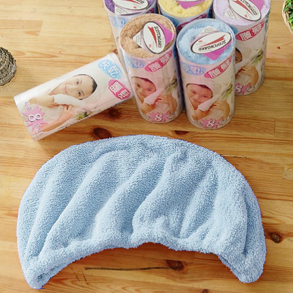 米夢家居-台灣製造水乾乾SUMEASY開纖吸水紗-快乾護髮浴帽(藍)3件