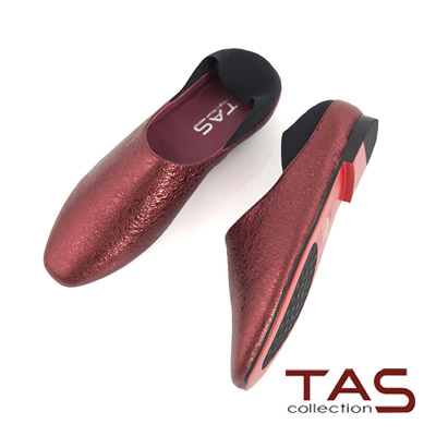 TAS 金屬感水晶牛皮懶人踩腳包鞋-酒紅