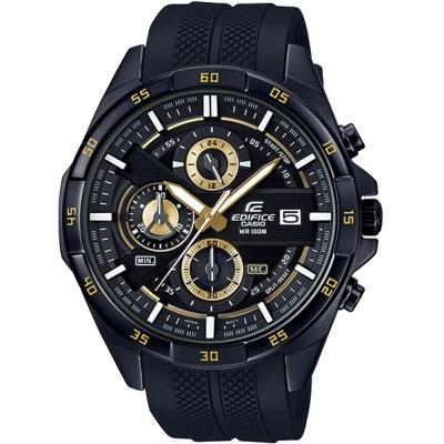 EDIFICE簡約新時尚壓紋設計的賽車錶(EFR-556PB-1)黑面X金邊48.7mm