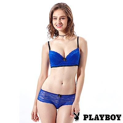 PLAYBOY成套內衣 性感蕾絲4分之3胸罩(寶藍PL130727)