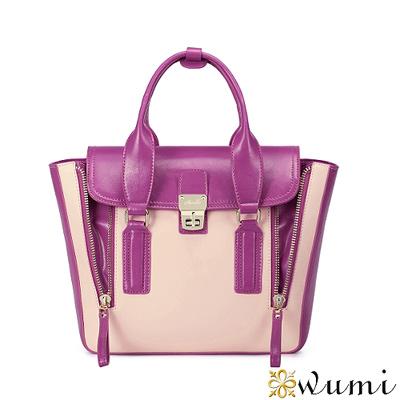 WuMi-無米-真皮梅根率性機車包-粉紫桃
