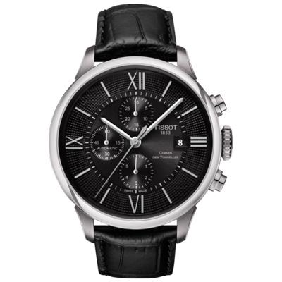 TISSOT 天梭 杜魯爾系列 三眼計時機械腕錶-黑/44mm