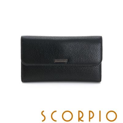 SCORPIO 類真皮超纖系列零錢夾層設計長夾 - 黑色