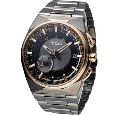 CITIZEN 星辰 衛星對時特務腕錶(CC2004-59E)-黑x玫瑰金色/44mm