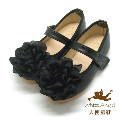 天使童鞋 優雅綻放花緹娃娃鞋(中-大童)-黑 JU780