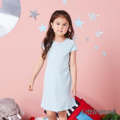 Little moni 涼感系列點點印圖兒童睡衣洋裝 亮天藍
