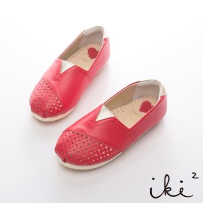 iki2童鞋-浪漫鏤空花仙子平底鞋-紅