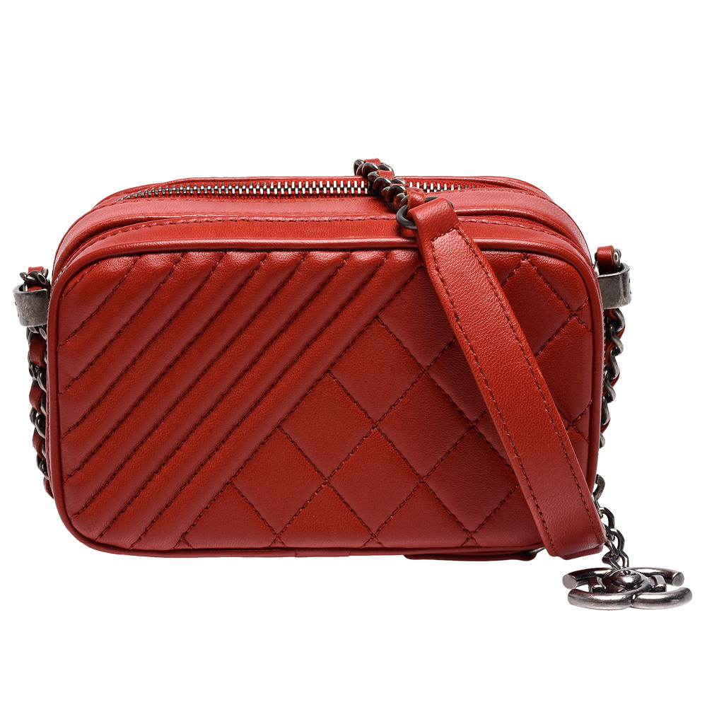 CHANEL 經典菱格+斜車紋小羊皮復古銀鍊雙拉鍊肩/斜背包(紅-展示品)
