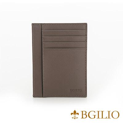 義大利BGilio-都會十字紋牛皮輕薄卡片夾-咖啡色-2299.310-03