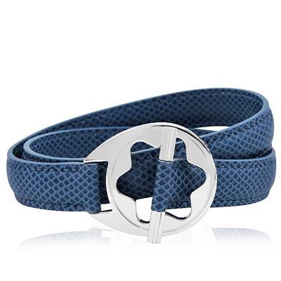 MONT BLANC 萬寶龍 六角星純銀雙環釦手環(藍色)