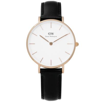 Daniel Wellington Classic經典真皮手錶-白x玫瑰金框x黑/32mm