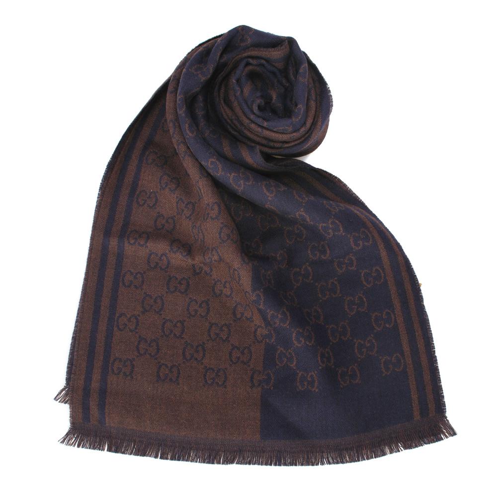 GUCCI 經典緹花斜紋雙色羊毛圍巾-咖藍