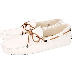 TOD'S Gommino 編織綁帶休閒豆豆鞋(男鞋/米白色)