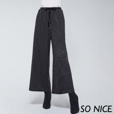 SO NICE質感條紋絲絨寬褲