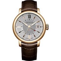 AEROWATCH Renaissance GMT 二地時區腕錶-銀x咖啡色錶帶/40mm