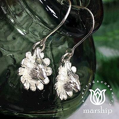 Marship 日本銀飾品牌 戴著夏威夷花圈的鸚鵡耳環 925純銀 亮銀款 針式耳環
