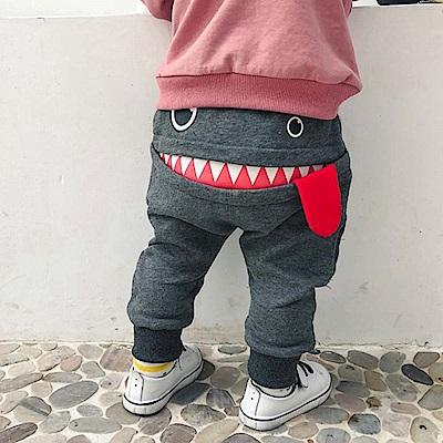 Baby unicorn 灰色怪獸嘴巴長褲
