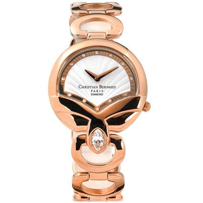 CHRISTIAN BERNARD 伯納錶 白剛玉真鑽不鏽鋼手錶-白x鍍玫瑰金/32mm