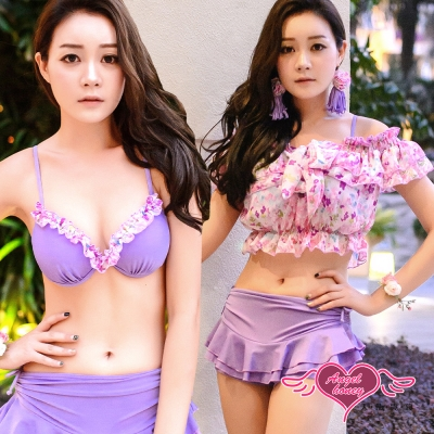 天使霓裳 浪漫小花 三件式比基尼泳衣(紫M~XL)