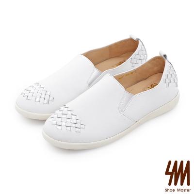 SM-台灣全真皮-雙色編織休閒平底懶人鞋-白色