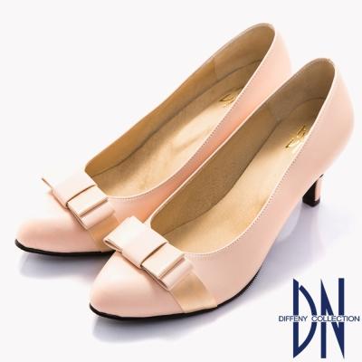 DN-經典淑女-MIT蝴蝶結拼接素面尖頭跟鞋-粉