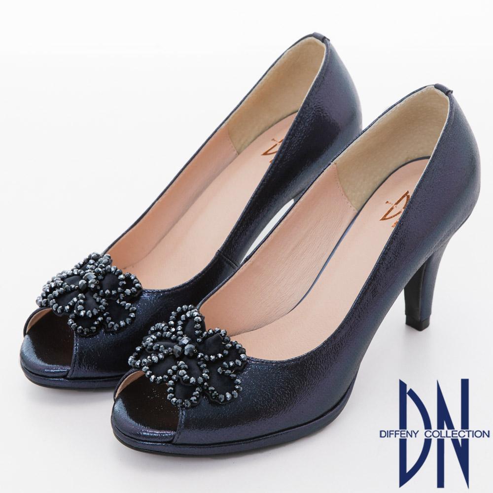 DN 氣質名媛 水鑽花朵拼接金蔥魚口跟鞋-藍