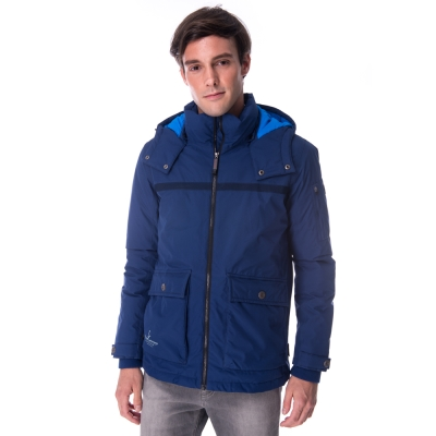 【hilltop山頂鳥】男款WS抗風防小雨蓄熱羽絨短大衣F22MT8藍