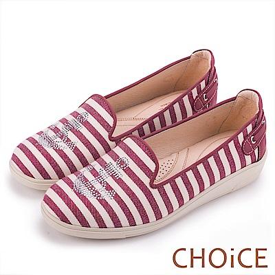 CHOiCE 舒適渡假休閒 船錨燙鑽條紋牛皮平底便鞋-條紋紅