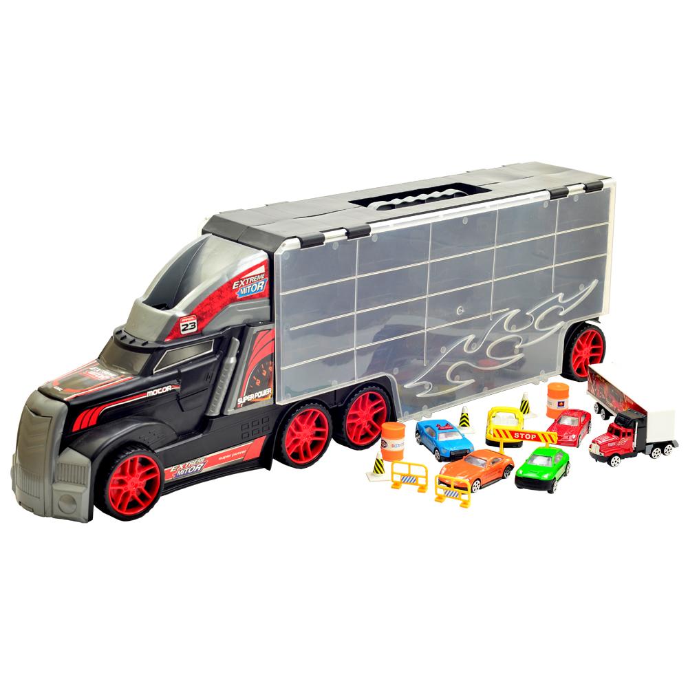 《Wheel》1:18活動把手提式貨櫃車收納組(送11台模型小車及路障配件)