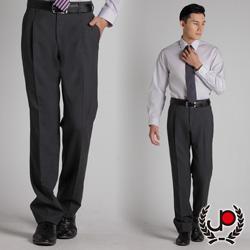 極品西服-質感高雅.混紡羊毛雙褶西裝褲_灰底藍條(BS317-2)