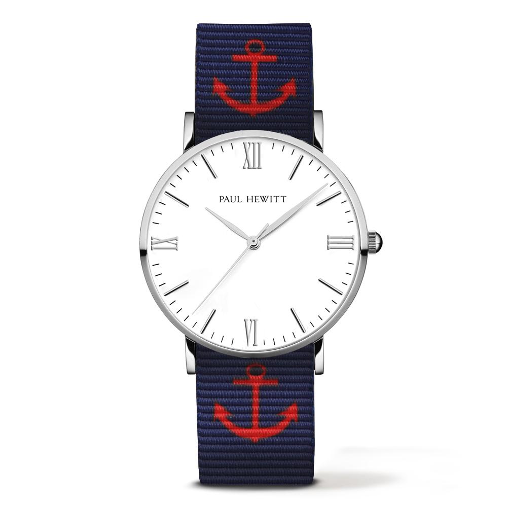 PAUL HEWITT  Silver Line 深藍紅船錨尼龍錶帶 銀色錶框/38mm