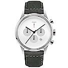 TYLOR 風尚三眼計時皮革手錶-白X灰/43mm