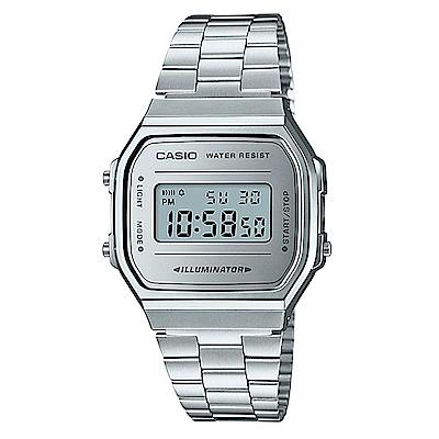 CASIO經典時尚復古造型設計數位錶(A-168WEM-7)銀色X銀面/36.3mm