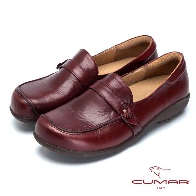 CUMAR舒適嚴選舒適真皮厚底包鞋紅