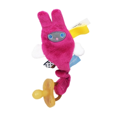荷蘭Snoozebaby小飛兔布標奶嘴鍊夾-桃紅-單一尺寸