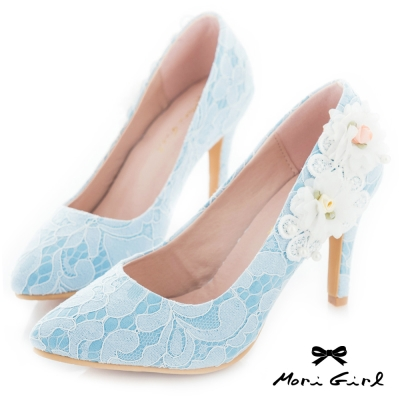 Mori girl手工花飾微尖頭蕾絲高鞋婚鞋 藍
