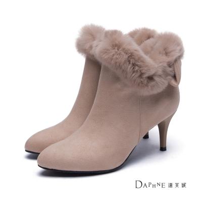 達芙妮DAPHNE-短靴-毛邊綴蝴蝶結尖頭高跟踝靴-駝8H